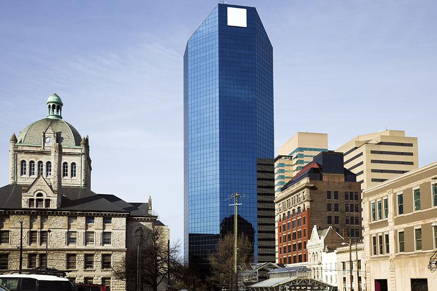 Lexington KY - Modern And Historic Buildings Against Blue Sky In Lexington Kentucky
